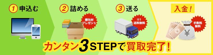 カンタン3STEPで買取完了! 1.申し込む→2.詰める→3.送る→入金!
